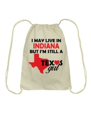 Texas Girl Lives in Indiana Drawstring Bag thumbnail