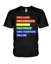 100 love 100 equality 100 loud V-Neck T-Shirt thumbnail