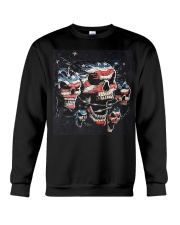 Biker Skull T Shirt - Teechip Crewneck Sweatshirt front
