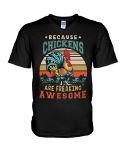 BECAUSE CHICKENS ARE FREAKING AWESOME V-Neck T-Shirt thumbnail