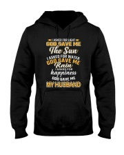 I ASKED FOR HAPPINESS GOD GAVE ME MY HUSBAND Hooded Sweatshirt front