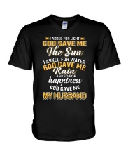 I ASKED FOR HAPPINESS GOD GAVE ME MY HUSBAND V-Neck T-Shirt thumbnail