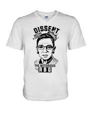 DISSENT MUTHA FCKAS THE NOTORIOUS RBG V-Neck T-Shirt thumbnail