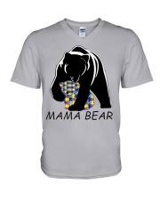 AUTISM MAMA BEAR V-Neck T-Shirt thumbnail