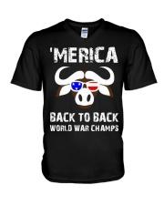 MERICA BACK TO BACK WORLD WAR CHAMPS V-Neck T-Shirt thumbnail