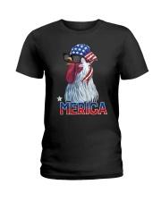 CHICKEN MERICA COOL Ladies T-Shirt thumbnail