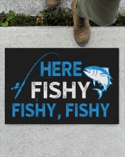 """Here Fishy Fishy Fishy Doormat 22.5"""" x 15""""  aos-doormat-22-5x15-lifestyle-front-01"""