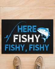 """Here Fishy Fishy Fishy Doormat 22.5"""" x 15""""  aos-doormat-22-5x15-lifestyle-front-02"""