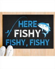 """Here Fishy Fishy Fishy Doormat 22.5"""" x 15""""  aos-doormat-22-5x15-lifestyle-front-03"""