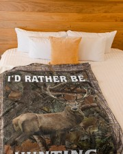 """I'd Rather Be Hunting Blanket - Love Hunting Large Fleece Blanket - 60"""" x 80"""" aos-coral-fleece-blanket-60x80-lifestyle-front-02a"""