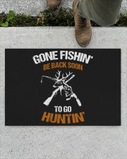 "Gone Fishing Be Back Soon To Go Hunting Doormat 22.5"" x 15""  aos-doormat-22-5x15-lifestyle-front-01"