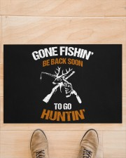 "Gone Fishing Be Back Soon To Go Hunting Doormat 22.5"" x 15""  aos-doormat-22-5x15-lifestyle-front-02"