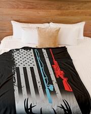 "Fishing Rod Hunting Rifle Flag - Love Hunting Large Fleece Blanket - 60"" x 80"" aos-coral-fleece-blanket-60x80-lifestyle-front-02"
