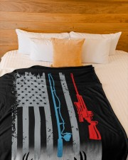 """Fishing Rod Hunting Rifle Flag - Love Hunting Large Fleece Blanket - 60"""" x 80"""" aos-coral-fleece-blanket-60x80-lifestyle-front-02a"""