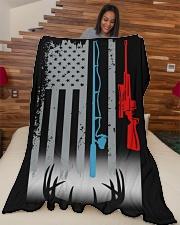 "Fishing Rod Hunting Rifle Flag - Love Hunting Large Fleece Blanket - 60"" x 80"" aos-coral-fleece-blanket-60x80-lifestyle-front-04"