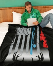 """Fishing Rod Hunting Rifle Flag - Love Hunting Large Fleece Blanket - 60"""" x 80"""" aos-coral-fleece-blanket-60x80-lifestyle-front-06a"""
