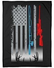 "Fishing Rod Hunting Rifle Flag - Love Hunting Large Fleece Blanket - 60"" x 80"" front"