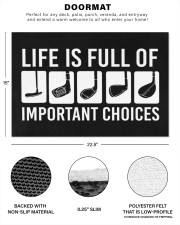 """Life Is Full Of Important Choices - Love Golf Doormat 22.5"""" x 15""""  aos-doormat-22-5x15-lifestyle-front-33"""