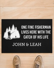 """Personalized Fishing - Fisherman Catch Of His Life Doormat 22.5"""" x 15""""  aos-doormat-22-5x15-lifestyle-front-02"""