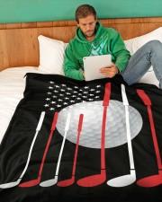 "American Flag Golf - Love Golf Large Fleece Blanket - 60"" x 80"" aos-coral-fleece-blanket-60x80-lifestyle-front-06a"