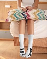Shhh Golf Is On - Love Golf Crew Length Socks aos-accessory-crew-length-socks-lifestyle-front-01