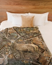 """Hunting Camo - Love Hunting Large Fleece Blanket - 60"""" x 80"""" aos-coral-fleece-blanket-60x80-lifestyle-front-02"""