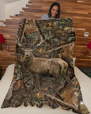 """Hunting Camo - Love Hunting Large Fleece Blanket - 60"""" x 80"""" aos-coral-fleece-blanket-60x80-lifestyle-front-04"""