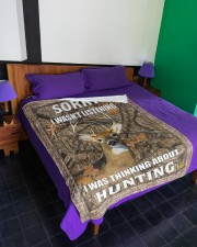 """Sorry I Was Thinking About Hunting Blanket Large Fleece Blanket - 60"""" x 80"""" aos-coral-fleece-blanket-60x80-lifestyle-front-01a"""
