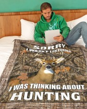 """Sorry I Was Thinking About Hunting Blanket Large Fleece Blanket - 60"""" x 80"""" aos-coral-fleece-blanket-60x80-lifestyle-front-06a"""
