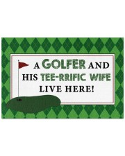 """A Golfer And His Tee-rrific Wife - Live Here Doormat 22.5"""" x 15""""  front"""