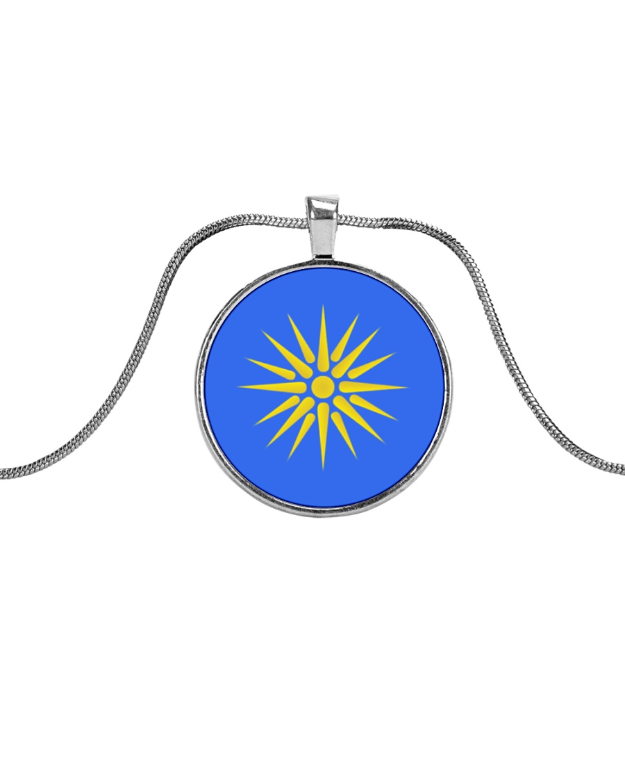 Macedonia Greek Vergina Sun Metallic Circle Necklace
