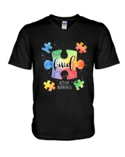 Be Kind Puzzle Pieces Cute Autism Awareness V-Neck T-Shirt thumbnail