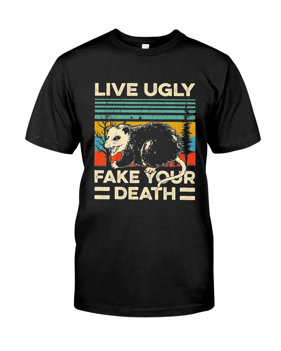 Live Ugly Fake Your Death Retro Vintage Opossum Classic T-Shirt
