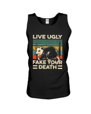 Live Ugly Fake Your Death Retro Vintage Opossum Unisex Tank thumbnail