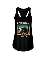 Live Ugly Fake Your Death Retro Vintage Opossum Ladies Flowy Tank thumbnail
