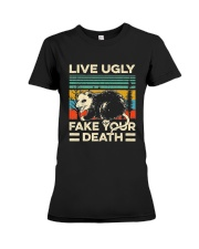 Live Ugly Fake Your Death Retro Vintage Opossum Premium Fit Ladies Tee thumbnail