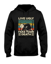 Live Ugly Fake Your Death Retro Vintage Opossum Hooded Sweatshirt thumbnail