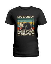 Live Ugly Fake Your Death Retro Vintage Opossum Ladies T-Shirt thumbnail