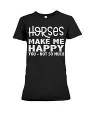 horses make me happy christmas t shirt cool horses Premium Fit Ladies Tee thumbnail
