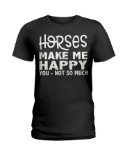 horses make me happy christmas t shirt cool horses Ladies T-Shirt thumbnail