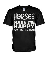 horses make me happy christmas t shirt cool horses V-Neck T-Shirt thumbnail