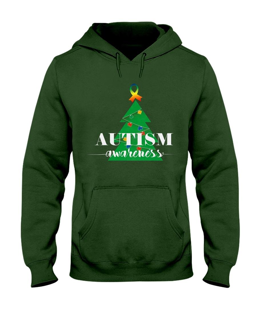 autism awareness shirt autism puzzle christmas tre Hooded Sweatshirt