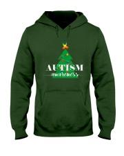autism awareness shirt autism puzzle christmas tre Hooded Sweatshirt front