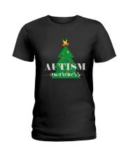 autism awareness shirt autism puzzle christmas tre Ladies T-Shirt thumbnail