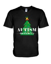 autism awareness shirt autism puzzle christmas tre V-Neck T-Shirt thumbnail