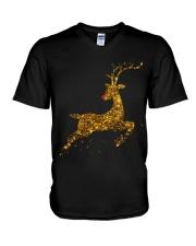 womens christmas reindeer t shirt cute womens gold V-Neck T-Shirt thumbnail