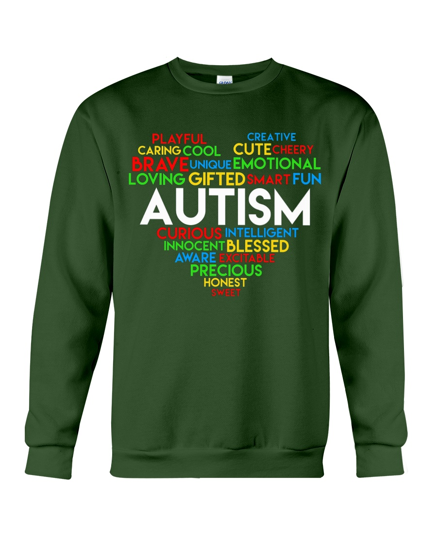 word cloud support autism awareness t shirt z47 Crewneck Sweatshirt
