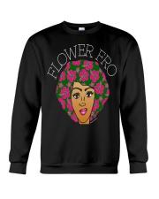 flower fro natural hair afro shirt hz2 Black Crewneck Sweatshirt thumbnail