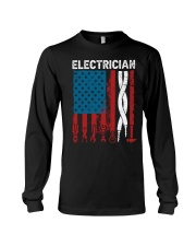 Patriotic Electrician American USAFlag Fathers Day Long Sleeve Tee tile