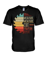 Dad Measure Swear Handyman Woodworker Fathers Day V-Neck T-Shirt thumbnail